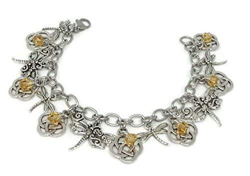 Dragonfly & Infinity Knots Charm Bracelet with Amber Beads and Stainless Steel Chain- Infinity Jewelry with ()