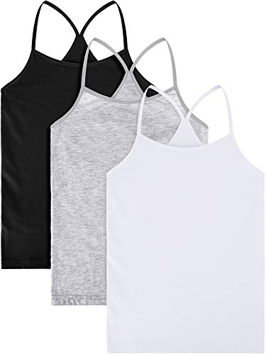 3 Pieces Girl Dance Tank Top Sleeveless Racerback Crop Tank Top Girl Dancewear for Ballet Dance (4-5 Years Size, Set 5)