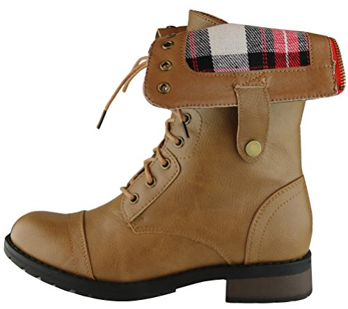 Cambridge Select Womens Combat Military Foldable Plaid Cuff Mid Calf Ankle Boot Taupe 8Q58qeE