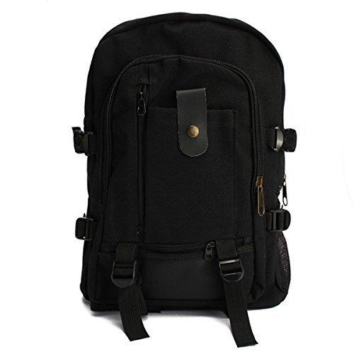 philna12Unisex Outdoor Wandern Rucksack Schultertasche Leinwand Tasche (schwarz)