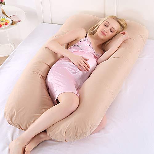 Outtybrave - Almohada Multifuncional en Forma de U para Dormir en el Lado del Embarazo, Almohada de Lactancia Materna, algodón, marrón, 15.1-20cm