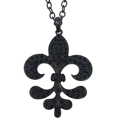 Fleur De Lis with Rhinestones on Long Chain Necklace (Black) (Fleur De Lis Chain Pendant)