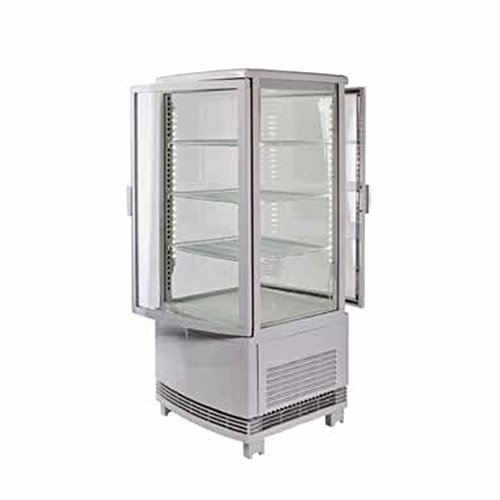 Winco CRD-1, Countertop Refrigerated Beverage Display, 120V, 180W, Curved (Glass Triple Display Case)