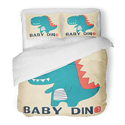 Emvency Bedding Duvet Cover Set King Size (1 Duvet Cover + 2 Pillowcase) Blue Cute Dinosaur for Baby Other Uses Dino Animal Girl Beautiful Beauty Birthday Hotel Quality Wrinkle and Stain Resistant -