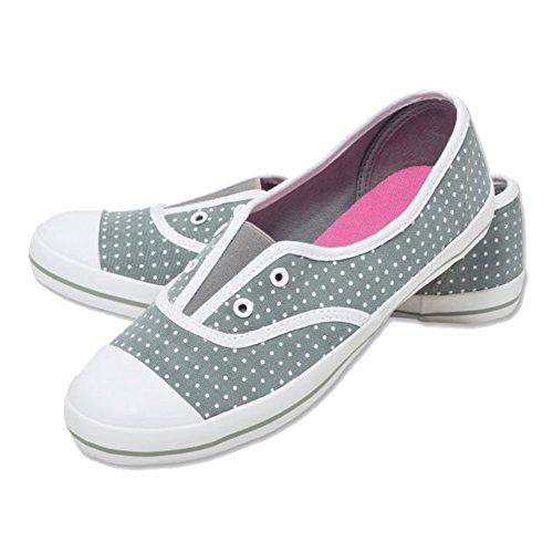 Walkx women Damen Leinenschuhe Leinen Schuhe Freizeitschuhe Grün mit Punkte