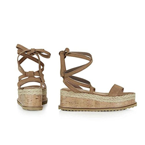 VEMOW Sandals for Women, Slippers Gladiator Wedge Tan Closed Toe Platform Sparkly High Low Heels Roman Flats Flip Flops Thongs, Platform Woven Thick-Bottom Waterproof Wedge Sandals Brown