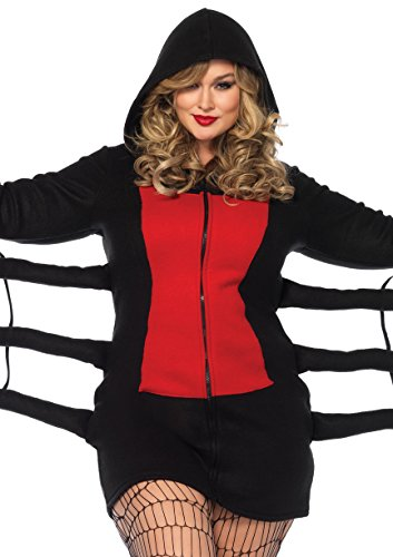 Creepy Halloween Costumes 2016 (Leg Avenue Women's Plus Size Black Widow Cozy, Black/Red, 3X-4X)