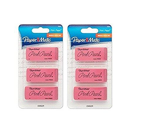 Paper Mate Pink Pearl Premium Erasers, 3 Pack, Large (70501), 2 Pack