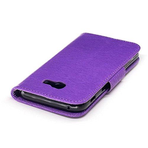 Carcasas y fundas Móviles, Para Samsung Galaxy A5 2017, [Oso de dibujos animados en relieve de la serie] Serie funda protectora de cuero de la PU Flip con cordón / ranura para tarjeta / soporte para S Purple