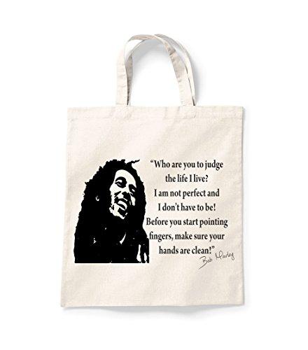 Hafren Trading Bob Marley Life I Live Shopper Einkaufstasche Canvas Tote Bag Tasche für Life Baumwolle Bedruckt Shopper Bag Geschenk Secret Santa