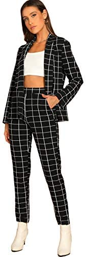 SheIn Women's Two Piece Plaid Open Front Long Sleeve Blazer and Elastic Waist Pant Set Suit