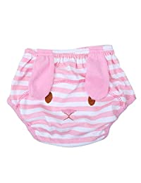 Lovely Cartoon Pattern Baby Waterproof Diaper Pants Kids Leaking Proof Swimming Trunks(XS-Pink Rabbit)