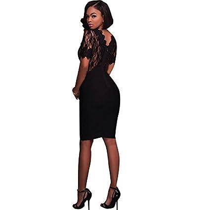Vestidos De Fiesta De Encaje Negros Ropa De Moda 2018 Cortos Sexys para Mujer y Noche Elegantes Casuales (S) VE0066 at Amazon Womens Clothing store: