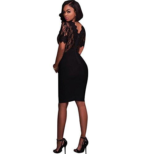 Vestidos De Fiesta De Encaje Negros Ropa De Moda 2018 Largos Cortos Sexys Para Mujer y Noche Elegantes Casuales VE0066 at Amazon Womens Clothing store: