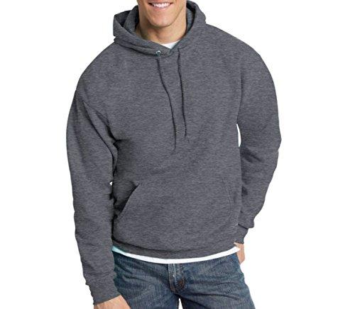 Hanes Men's Pullover EcoSmart Fleece Hooded Sweatshirt, Charcoal Heather, (Fleece Pullover Charcoal)