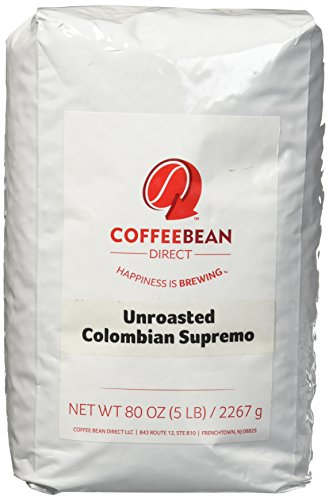 Green Unroasted Colombian Supremo, Whole Bean Coffee, 5-Pound Bag