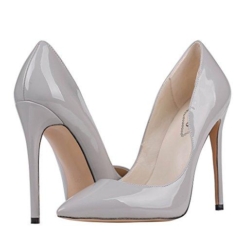 Lackleder EKS Gris de Grau Zapatos Tacón Mujer nYr8x7zqY