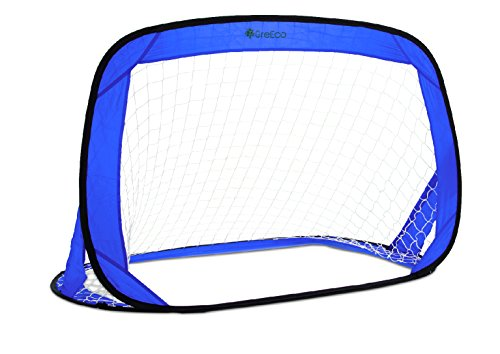 GreEco Pop-Up 'n Play Goal, Portable Foldable Soccer Goal, Two Nets & Bag (Pair) - Set of 2, Professional Square Firm Net , 4H x 2.7W x 2.7D, Blue (Foldable Soccer Goals)