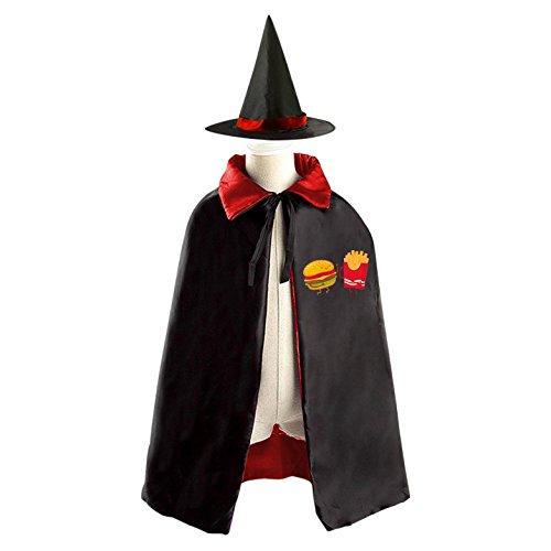 Hamburger Potato Witch Wizard Cloak Cape Costume Boys Girls Reversible Purple Red Kids