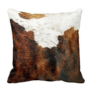 Genuine Cowhide (Splendid Decor Genuine Cowhide Pillowcase Covers Brown And White Cow Hide Pillow Cushion)