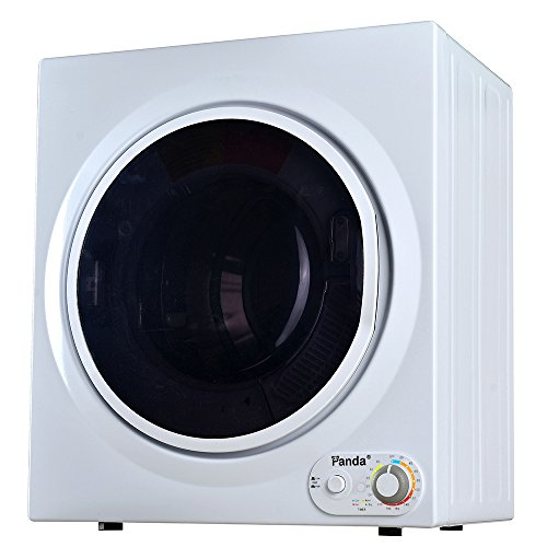 Panda 3.75 cu.ft Compact Laundry Dryer, Control Panel Downside, PAN760SF White and Black