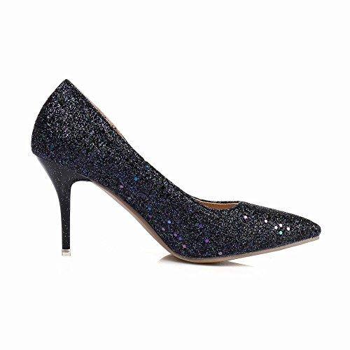 Carolbar Vrouwen Pailletten Puntschoen Chique Stilettos Hoge Hakken Pumps Schoenen Zwart