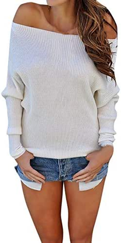 Sunhusing Fashion Women Off-Shoulder Knitted Long-Sleeve Blouse Comfy Solid Color Sweater
