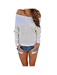 Women Off Shoulder Long Sleeve Sweater Shirts Sexy Solid Autumn Tops Blouse Pullover