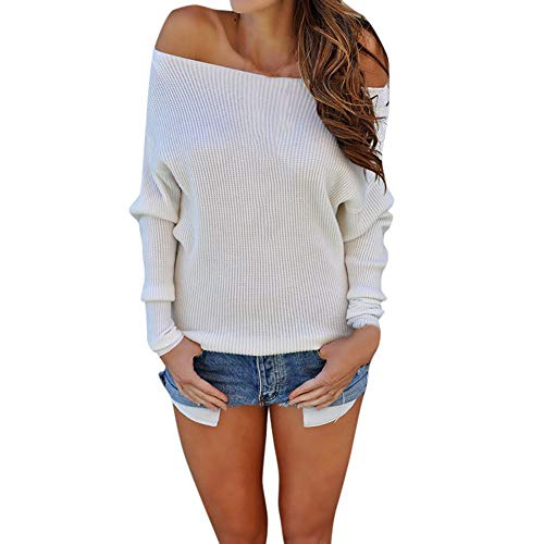 - Sunhusing Fashion Women Off-Shoulder Knitted Long-Sleeve Blouse Comfy Solid Color Sweater White