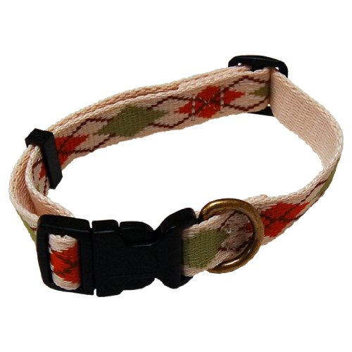 Hold'Em Argyle Design Dog Collar Beige- Medium