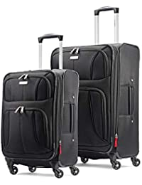 Aspire xLite Expandable Softside 2-Piece Luggage Set (20/29) with Spinner Wheels, Black