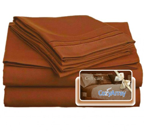 Sienna Comforter Set (Clara Clark ® Premier 1800 Collection Bed Sheet Set, Includes a Free $5 Cozy Array Gift Card, Twin (Single) Size, Burnt Sienna (Rust, Orange Brown))
