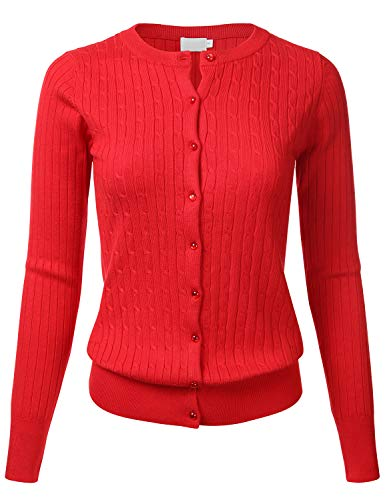 FLORIA Womens Classic Gem Button Long Sleeve Crew Neck Cable Knit Fitted Cardigan Sweater (S-3XL)