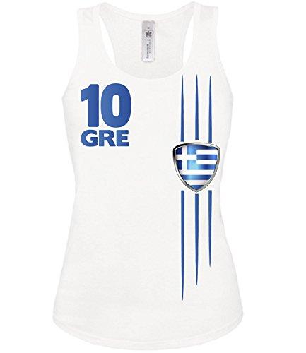 Copa del Mundo de fútbol - Campeonato de Europa de Fútbol - GRIECHENLAND mujer camiseta Tamaño S to XXL varios colores S-XL Blanco