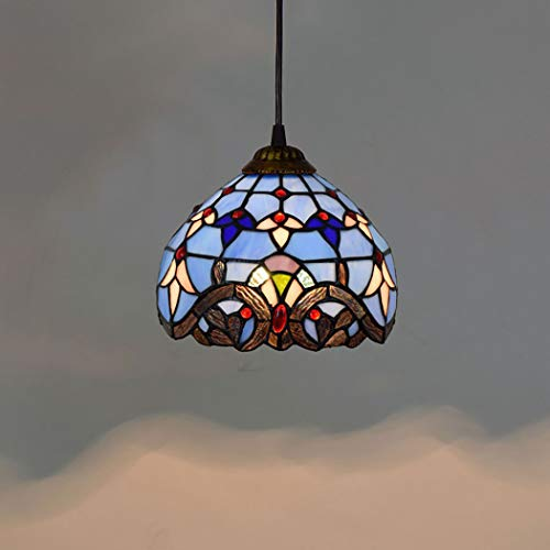 Tiffany Style Mini Pendant Light, 8 Inch Antique Bronze And Art Glass Shade Blue Baroque E27 Ceiling Pendant Fixture