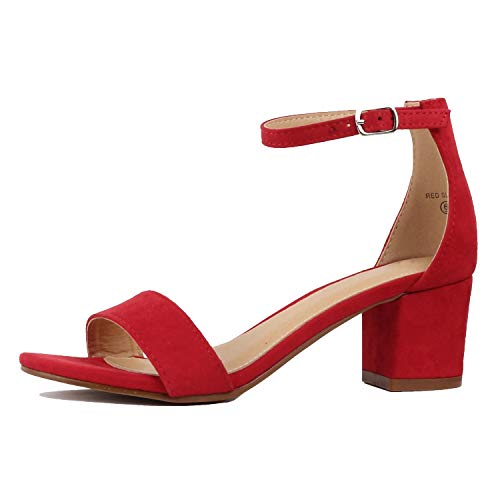 Guilty Shoes - Womens Ankle Strap Single Band Sandals - Low Chunky Block Comfortable Office Heeled Sandals (8.5 B(M) US, 08 Red Suede)