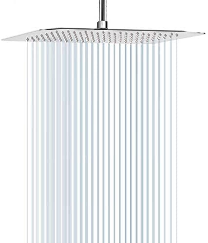 12 Inch Shower Head, STrighter Square Rain Shower heads, High Pressure Large Stainless Steel Rainfall Showerhead Waterfall Full Body Coverage Easy to Install