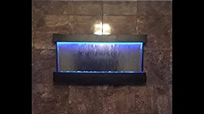 "Wall WaterFall XL 47""x24"" Black Frame wall fountain ,Blue Mirror , Color Lights Remote Ctrl Sale"