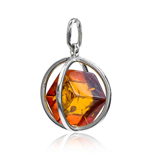 Ian and Valeri Co. Amber Sterling Silver Millennium Collection Spherical Contemporary Pendant Cube