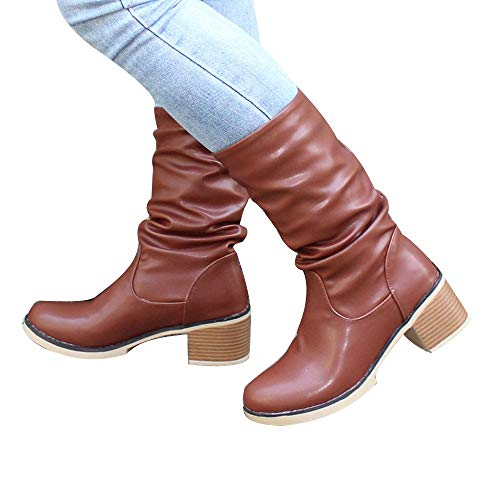 NEARTIME Women Mid Calf Leather Boots European Winter Retro Booties Increase Tie Short Boots Shoes Brown