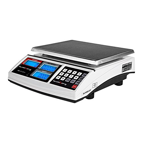 Steinberg Systems SBS-ZW- 3001H Counting Scales Digital Electronic Scale Industrial Scales (30 kg / 1 g, Platform: 26 x 21 cm, LCD, incl. Baterry Power Cable) White