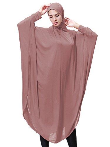 GladThink Womens Muslim Bat's-wing-sleeves Dress Hijab Two in One DARKPINK L