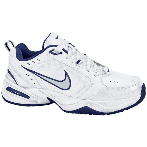 Nike Men's Air Monarch IV (4E) Training Shoe White/midnight navy/metallic  silver Size 6.5 Wide 4E