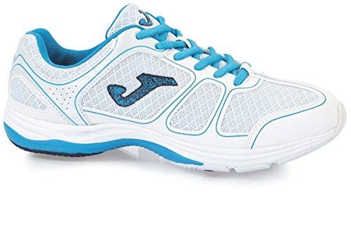 Joma Damen Fitnessschuh / Sportschuh / Aerobic Schuh / Turnschuh Jian, Gr. 37 (UK 4/US 5), weiss/blau, Geldämpfung,