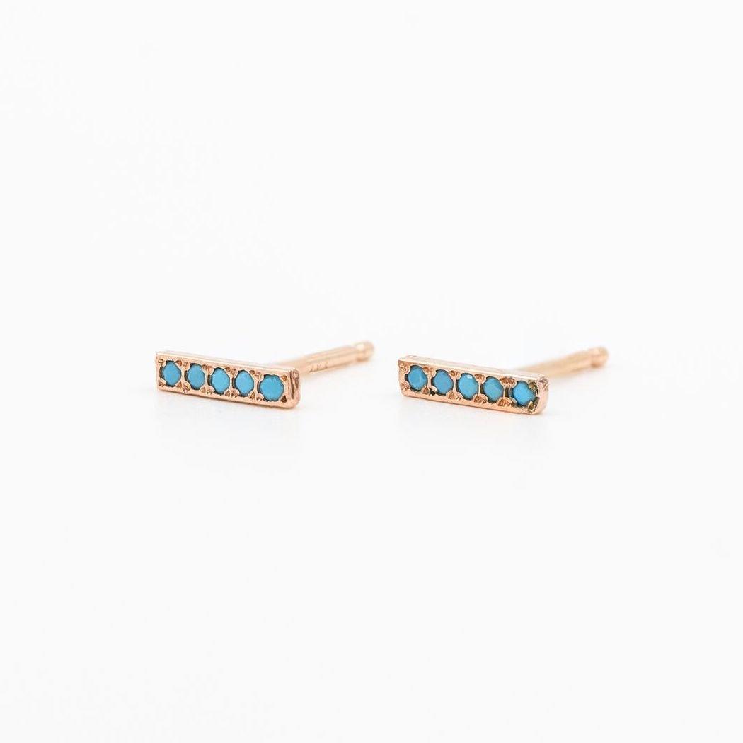 6e7f399ed5047 Amazon.com: 14k Gold Flat Linear Turquoise Bar Stud Earrings: Handmade