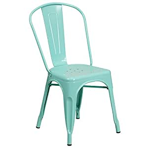 Flash Furniture Mint Green Metal Indoor-Outdoor Stackable Chair