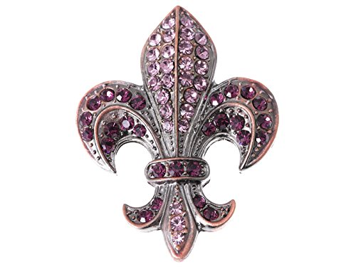 Alilang Copper Silvery Tone Purple Rhinestones French Fleur De Lis Lily Brooch Pin