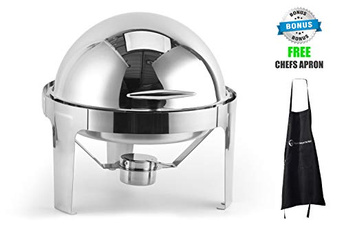 (6qt round roll top stainless steel chafer)