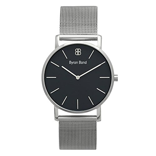 38mm Ultra Thin Slim Case Minimalist Fashion Watch for Men & Women by Byron Bond (Bayswater - Silver Case with Black Dial and Silver Mesh Strap)
