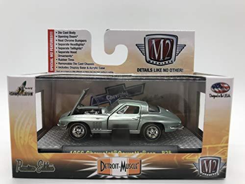 M2 Machines Detroit-Muscle 1966 Chevrolet Corvette 327 1:64 Scale R26 14-30 Aquamarine Green Details Like NO Other! Over 42 Parts ()
